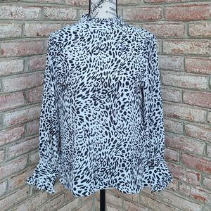 DKNY Leopard Print Mock Neck Blouse White Black XS